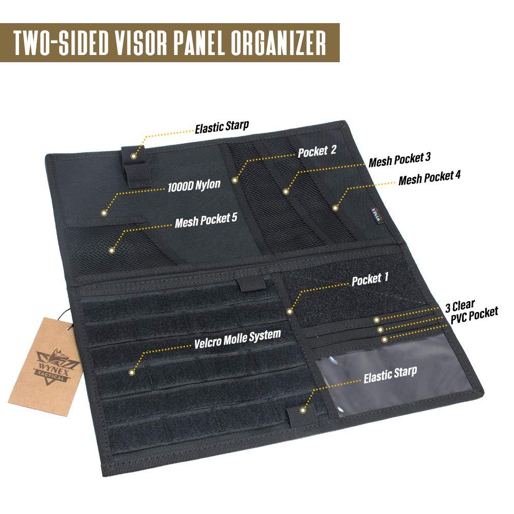 Talla /única Compatible con Visera de veh/ículo Bolsa de Almacenamiento Caqui Wynex Molle t/áctico Organizador de Paneles de Visera para Coche
