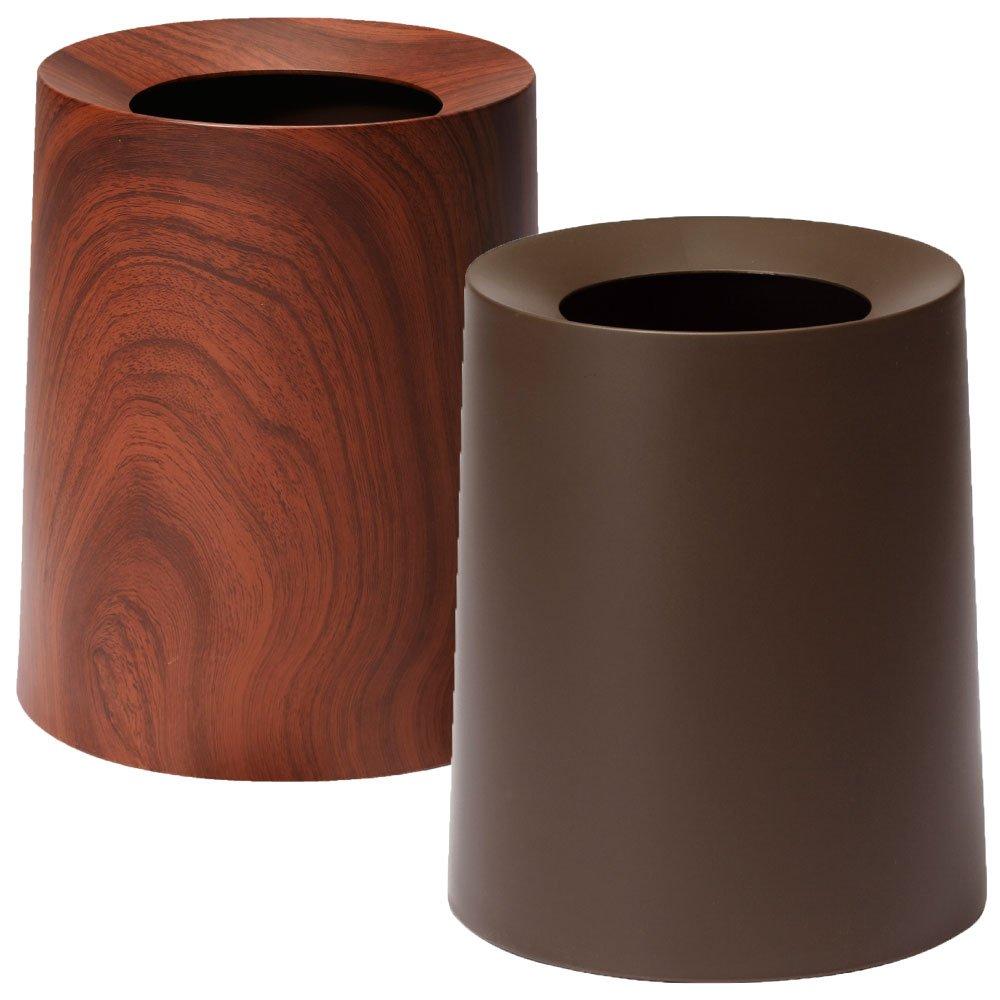 イデアコ ゴミ袋が隠せるゴミ箱 チューブラー オム TUBELOR HOMME 2個セット ごみ箱 ダストボックス (ローズウッド×ブラウン) B01J3413NG ローズウッド×ブラウン ローズウッド×ブラウン
