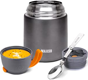 Thermos Hot Food Container,Soup Thermos for Kids Adults Lunch Box,Insulated Vacuum Stainless Steel Hot Cold Food Jar with Spoon for School Office Travel (Cold Grey, 17oz)