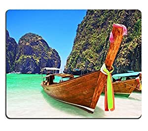 Mouse Pad Natural Rubber Mousepad IMAGE ID: 21799461 Traditional wooden boat at Phi Phi island Thailand Asia