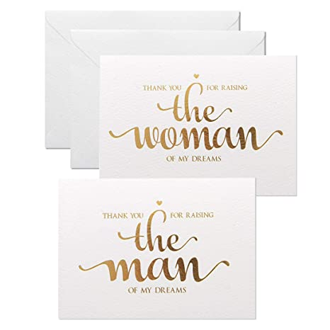 MAGJUCHE Thank You for Raising The Man, The Women of My Dreams, Gold Foil Wedding Day Cards Set to Your in Laws, from Bride and Groom