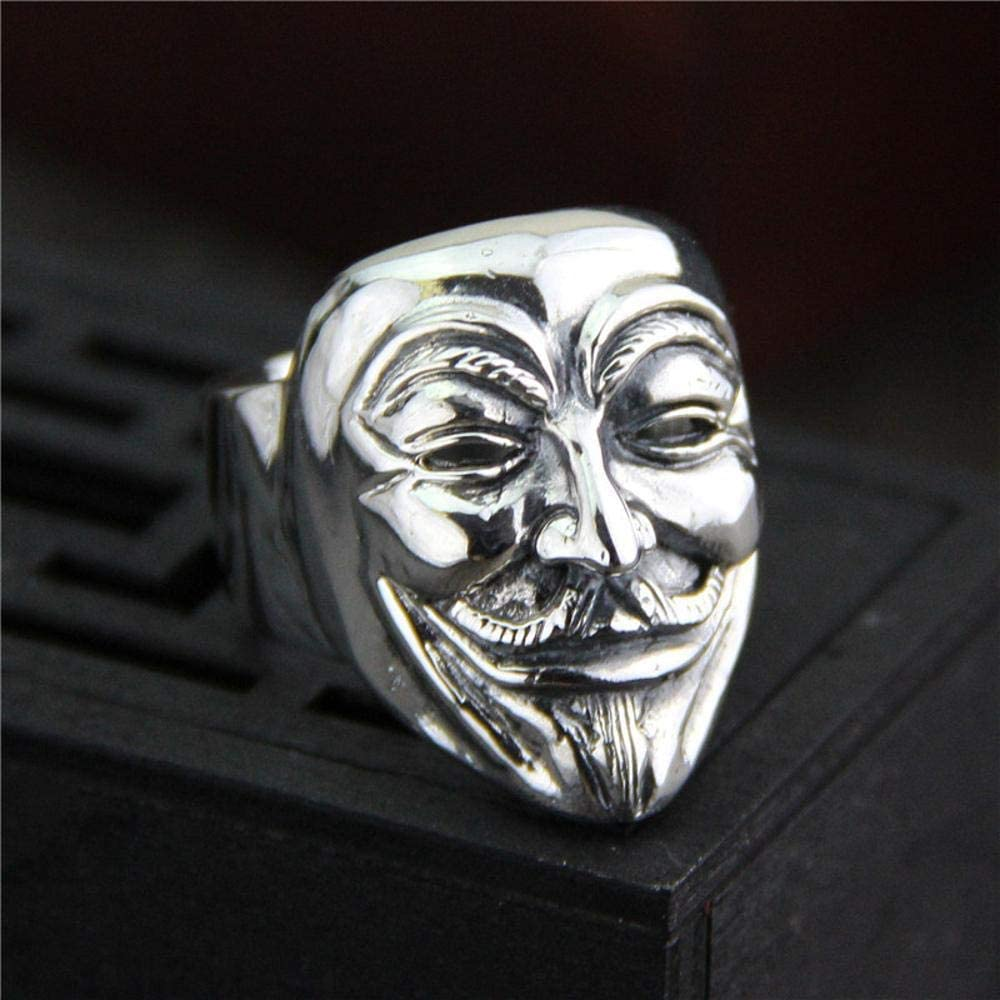 Daeou Open Ring S925 Sterling Silver Man Personality Unique Metal Punk mask Ring