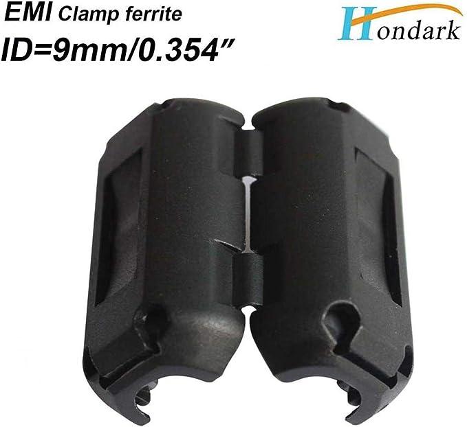 12ea Inner Diameter 9mm 0.35 inch Cable Wires Clip ferrite Bead EMI Filter ferrite core clamp Noise Cancel ferrite Ring RF Choke ferrite Bead 2035-0930 Black