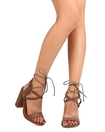 52cbfc1c3b Women Faux Suede Open Toe Block Heel Criss Cross Ankle Wrap Sandal FC54 -  Taupe (