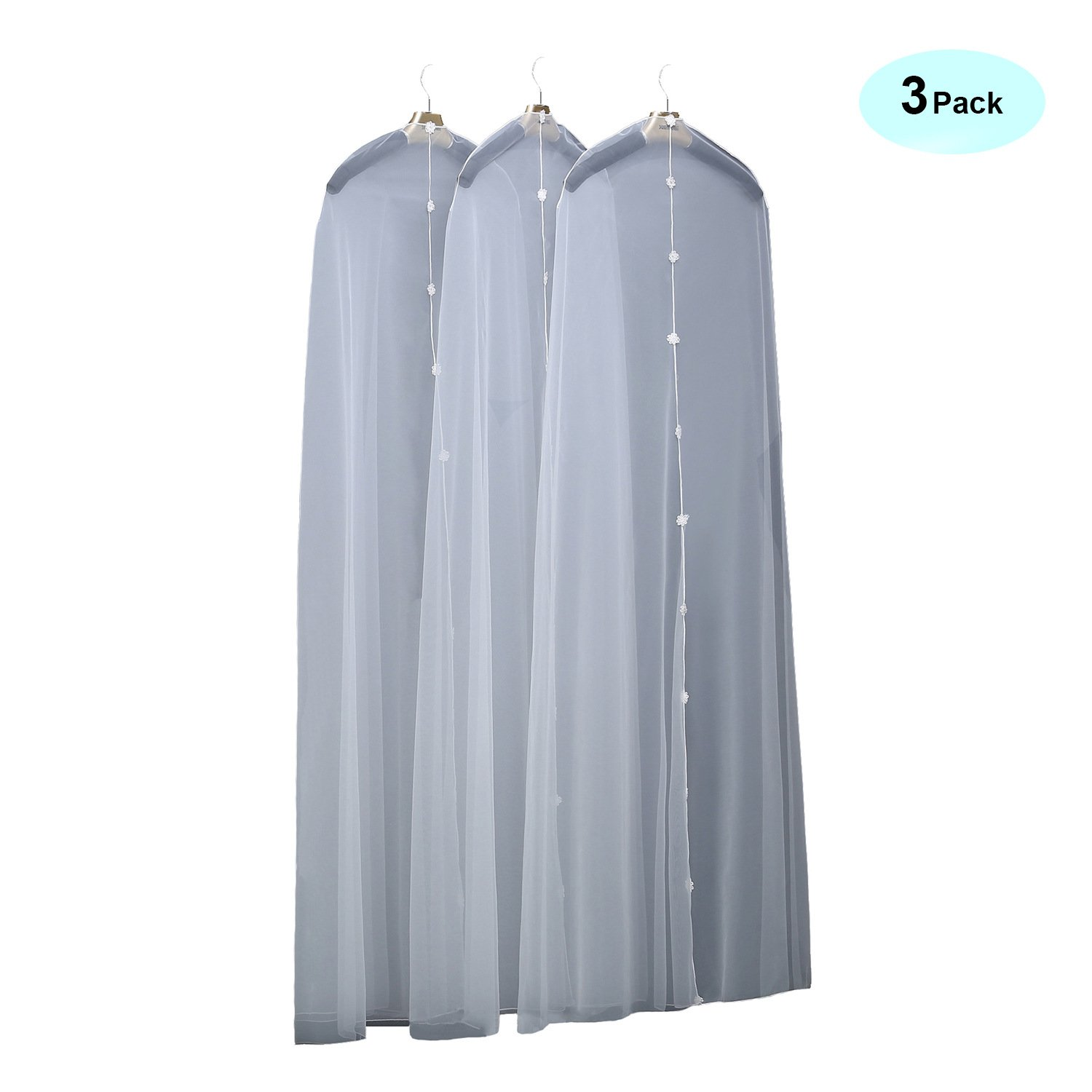 Chadox White Garment Bags for Long Dress Transparent Tulle Dust Cover for Clothes