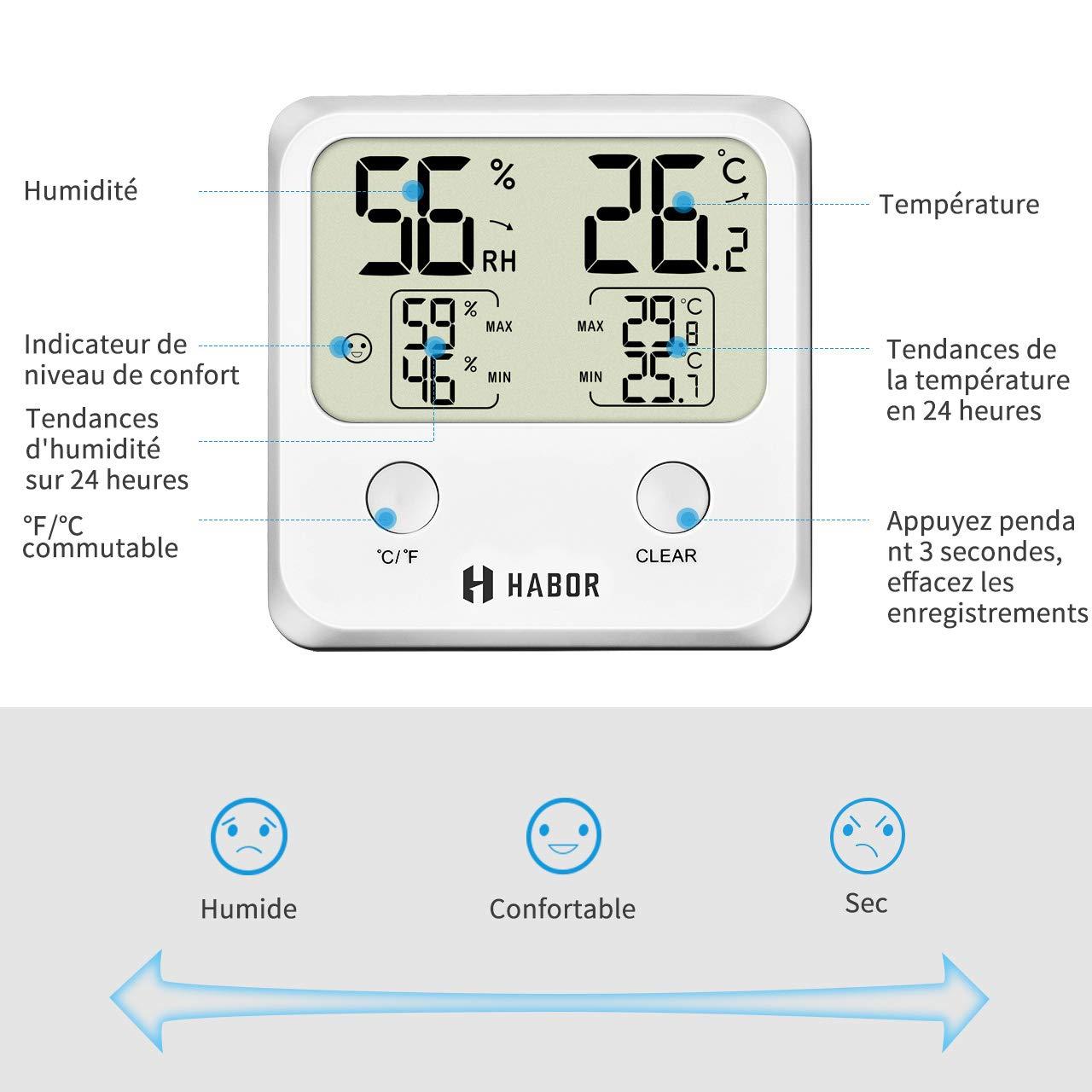 Jauge de Thermometre sans Fil de Haute Precision Habor 【Garantie de 18 Mois】 Thermom/ètre Hygrom/ètre Num/érique Hygrometre Numerique dinterieur