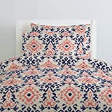 Carousel Designs Navy and Coral Ikat Damask Duvet Cover Queen/Full Size - Organic 100% Cotton Duvet Cover - Made in The USA