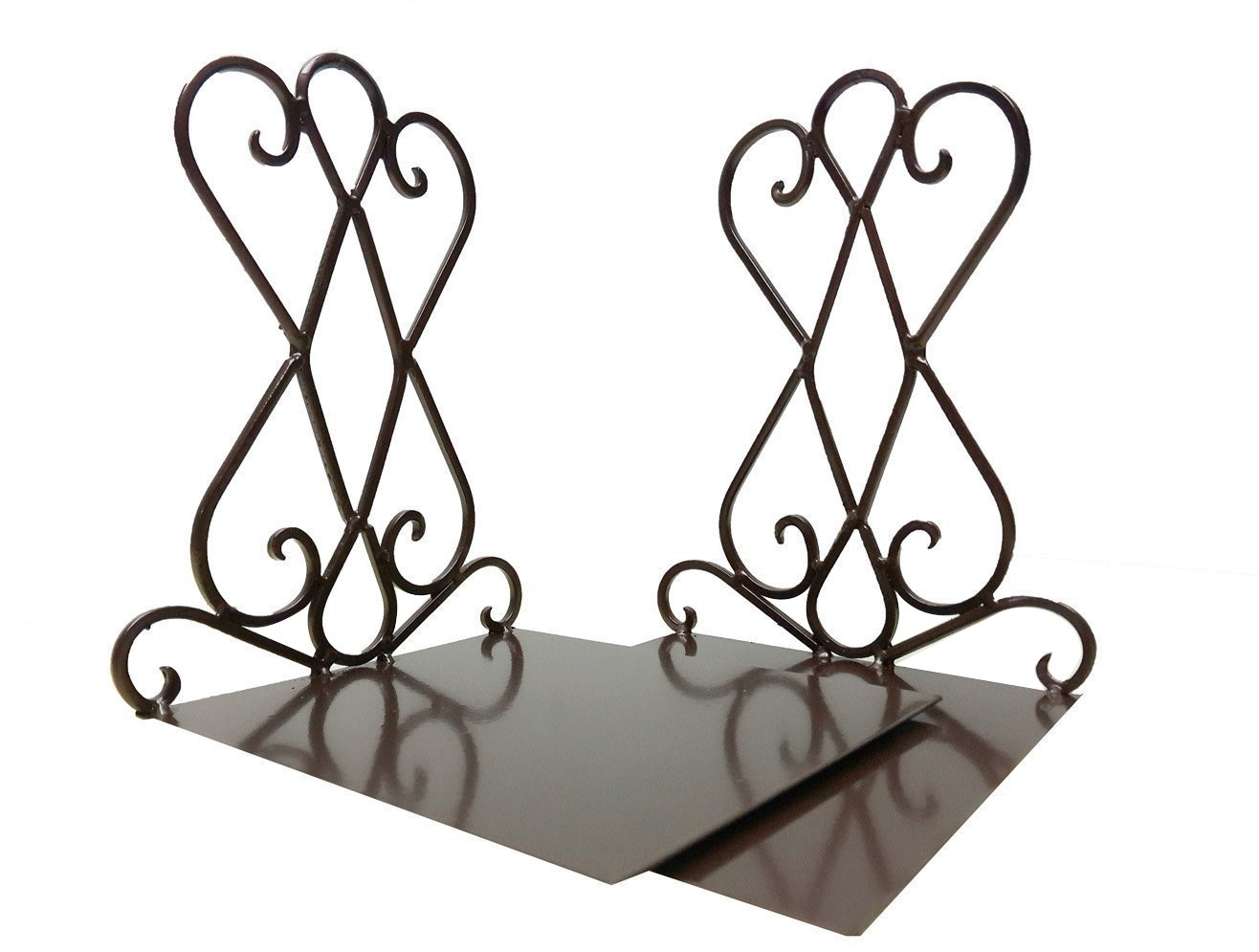 Vintage Retro Antique Iron Bookend Shelf Book End Bookend Home Office School Decoration (Brown)