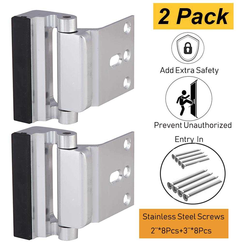 Door Security Lock, Child Proof Door Reinforcement Lock with 2'' Stop 4Screws for Inward Swinging Door, Double Safety Security Protection for Your Home(2PACK)