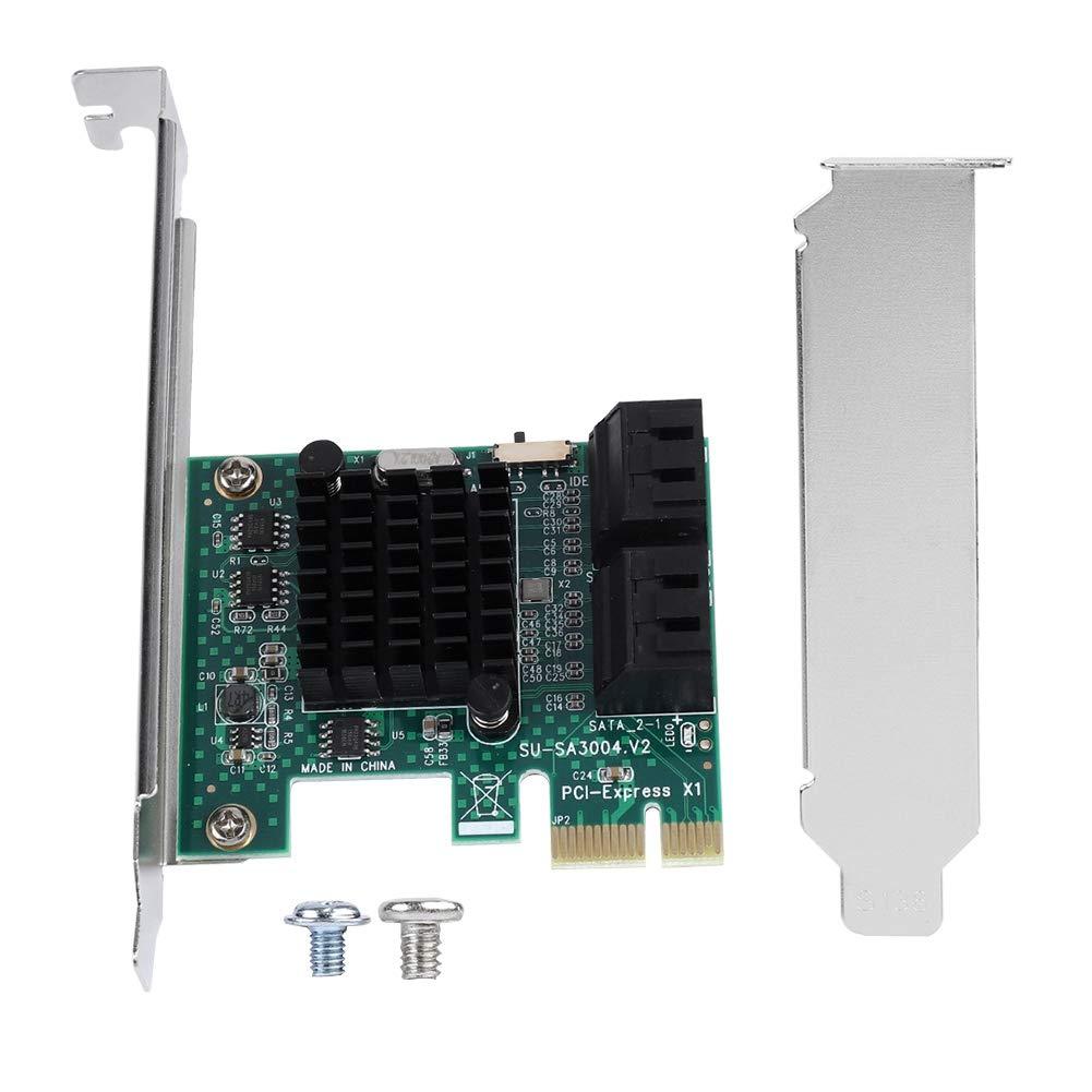 Mavis Laven SATA III 4 Puertos Tarjeta controladora PCI-e x1, Tarjeta de expansión SATA 3.0 4 Puertos PCIE a SATA 3.0 Adaptador de Tarjeta ...