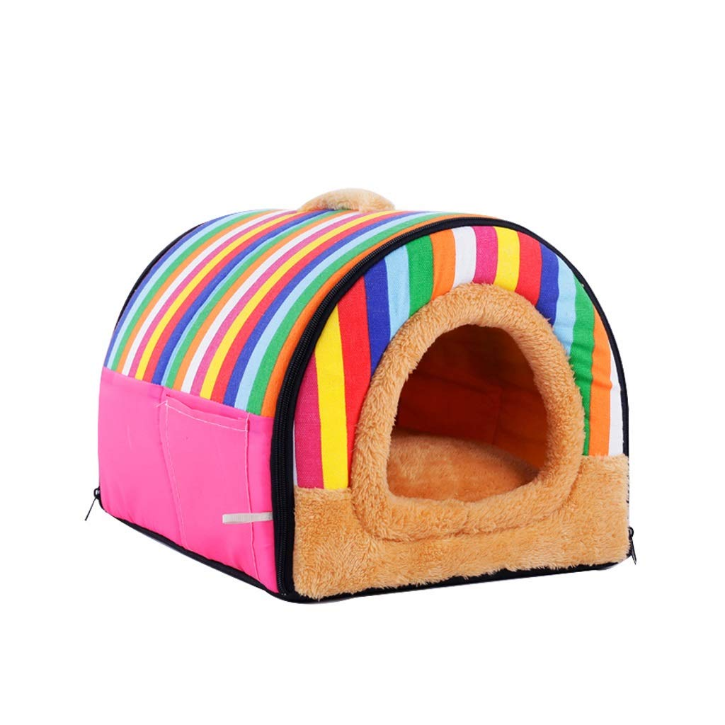 M XBCWW Luxury Cozy 2-in-1 Pet House And Sofa, Warm Pet Kennel Puppy House Plush Dog Cat Kitty Bed Pet Indoor House Convenient And Foldable,Rainbow color(S, M, L) (Size   M)