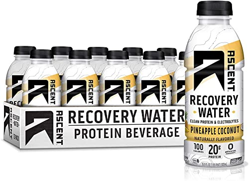 Ascent Protein Recovery Water – Pineapple Coconut – 16.9 fl oz Bottle – Pack of 12