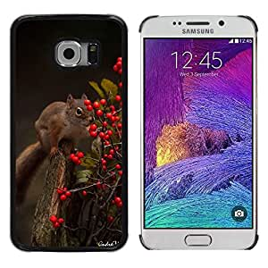 Be Good Phone Accessory // Dura Cáscara cubierta Protectora Caso Carcasa Funda de Protección para Samsung Galaxy S6 EDGE SM-G925 // Squirrel Forest Berries Animal Nature Green
