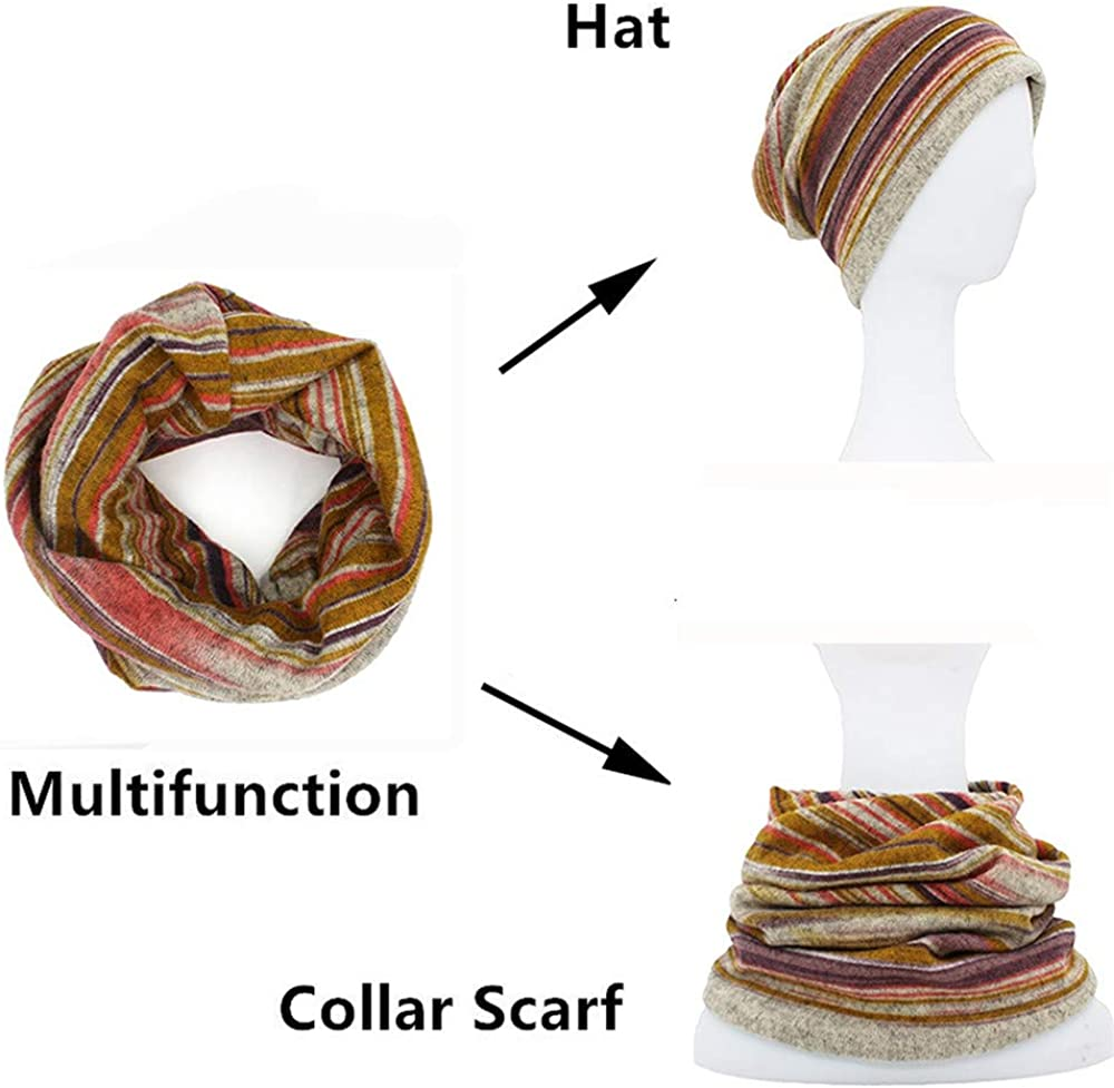 Autumn Winter Thin Women Striped Hats for Men Multifunction Scarf