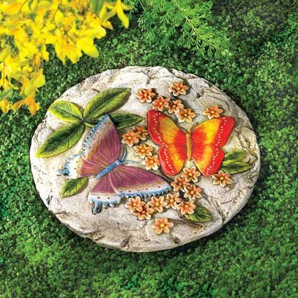 DecorDuke Garden Stepping Stones Beautiful Mix Butterfly With Flower Concrete Cement Outdoor Round Accent Molds Pathway -