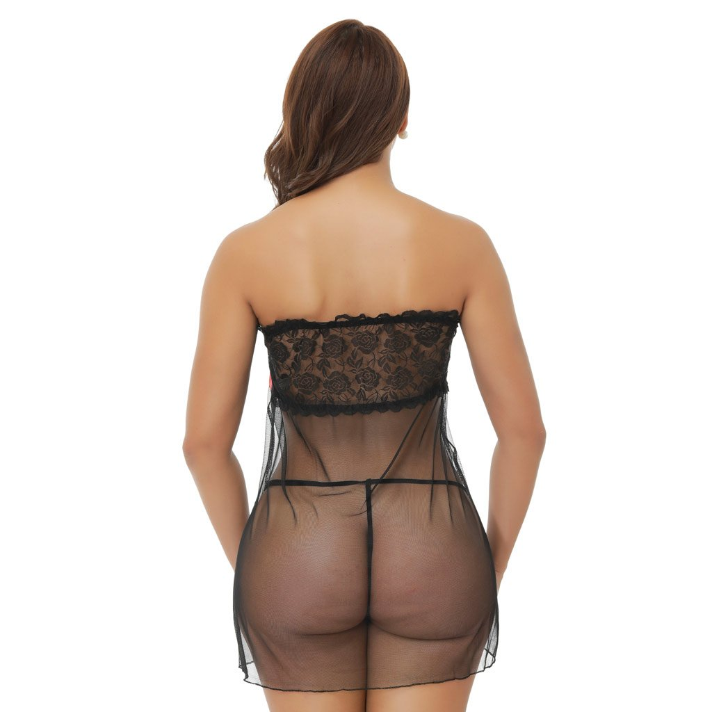 KHUFUZI Babydoll Lingerie for Women with G-String Sexy Silky Lace Sleepwear One Size Fit Most