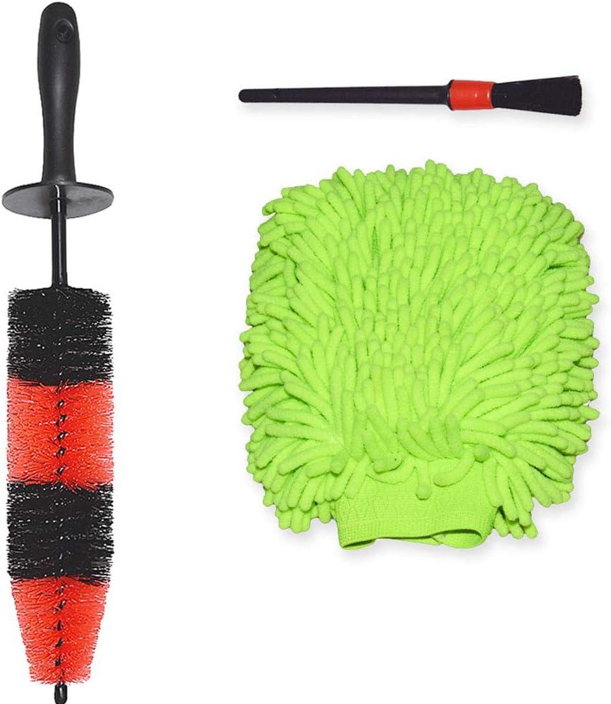 YISHARRY LI Car Cleaning Kit 3 Piece - 17inch Long Soft Bristle Wheel Brush and Chenille Microfiber Wash Mitt and Auto Detailing Brush
