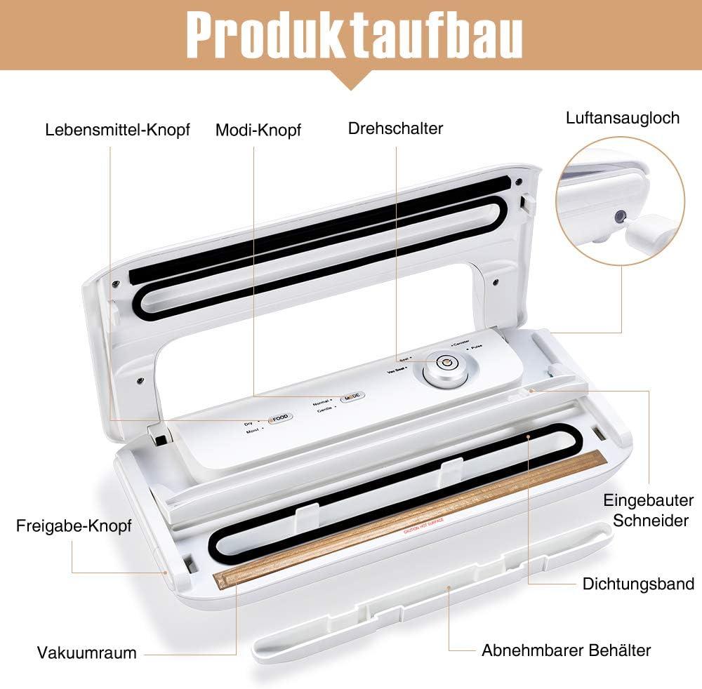 Bifrecho - Macchina per sottovuoto, per umidità secca, macchina per sottovuoto fino a 8 volte più a lungo, con rotolo di pellicola bianco Bianco
