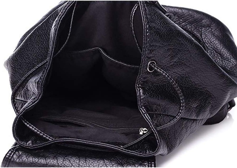 YKXY Zaino Donna in Morbida Pelle Lychee Modello di Grande Capienza Fashion School di Viaggio Zaino Spalla della Borsa,Nero Black