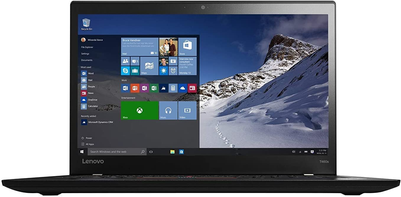 Lenovo ThinkPad T460s 14inch Notebook Intel Core I7-6600U up to 3.4G,Webcam,1920x1080,12G DDR4,256G SSD,USB 3.0,HDMI,Win 10 Pro 64 Bit,Multi-Language Support English, Spanish (Renewed)