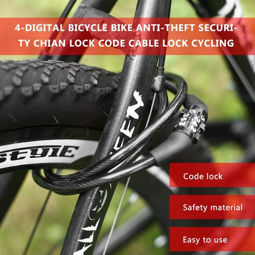 Anti-Theft Cable Bike Lock 4 Digital Code Password Bike Safety SecurityLocks