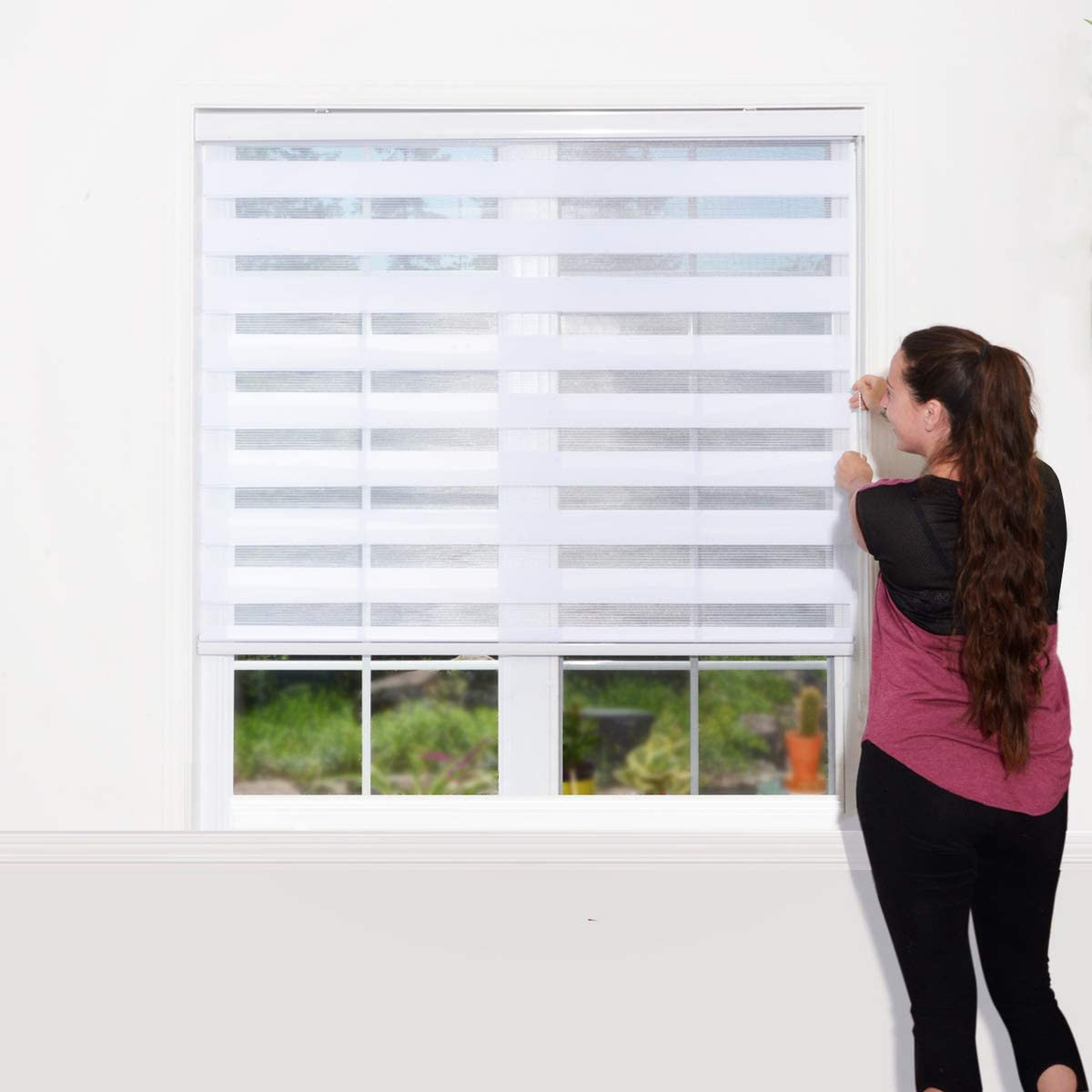 WYMO Zebra Blinds for Windows – 50 x 64 inch – Sheer Horizontal Window Blinds and Shades for Daytime and Nighttime – Light Filtering Roller Shades with White Valence, 20 to 72 inch Wide