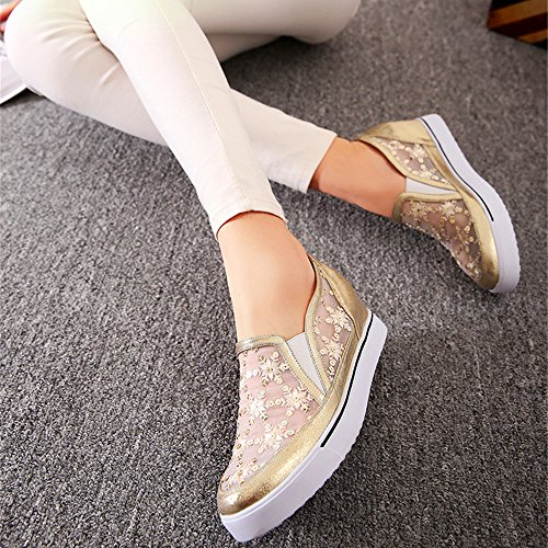 MINIVOG Gauze Gusset Elastic Height increasing Platform Flat Women Loafers Gold PUzPRc