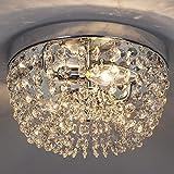 Vicnie 25cm Delicate Design Chrome Crystal Livingroom Chandeliers Flush Mount Crystal Ceiling Light, Ceiling Lights with Elegant Crystal for Bedroom,Livingroom,Dining Room