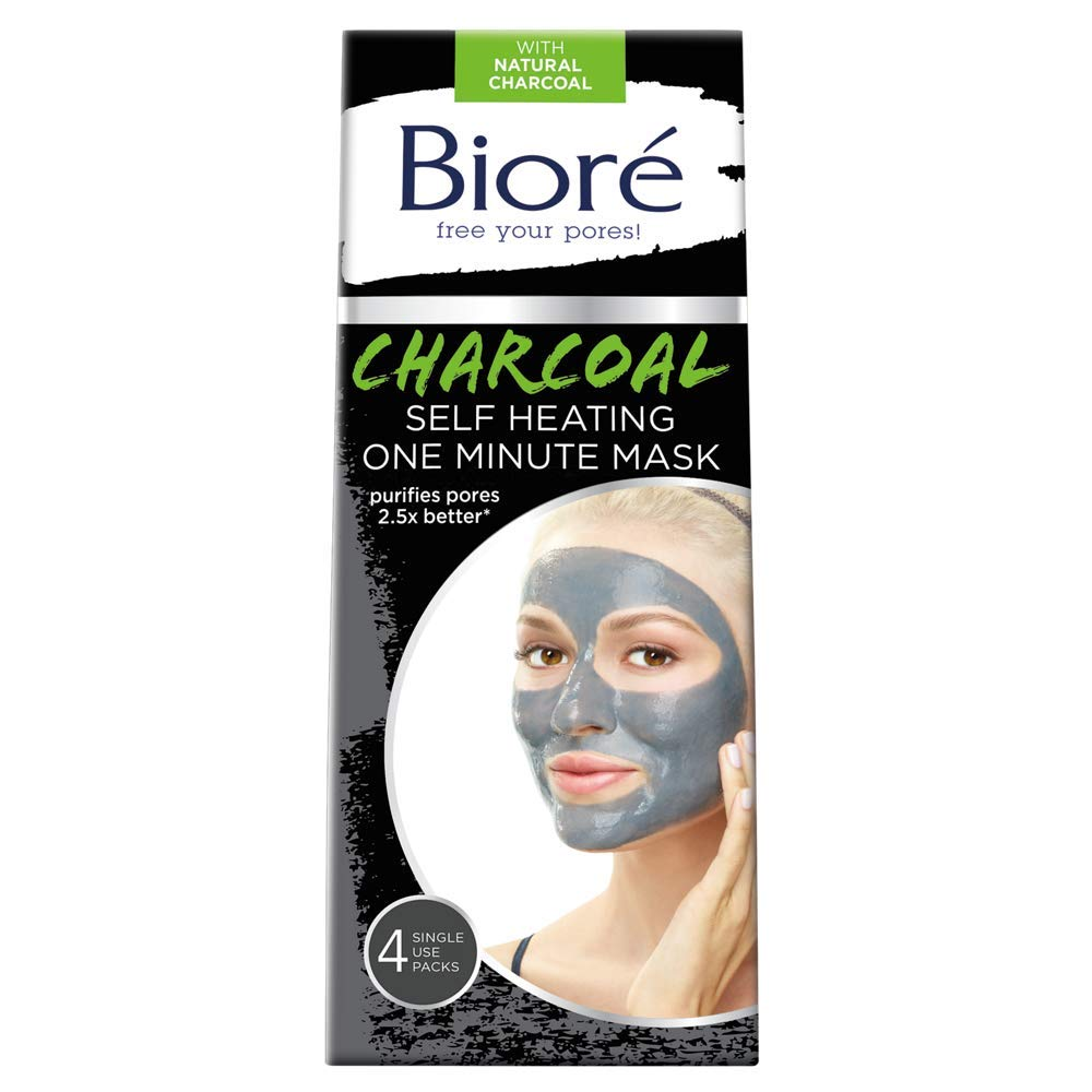 Bioré Charcoal Self-Heating One Minute Mask (4 Count)