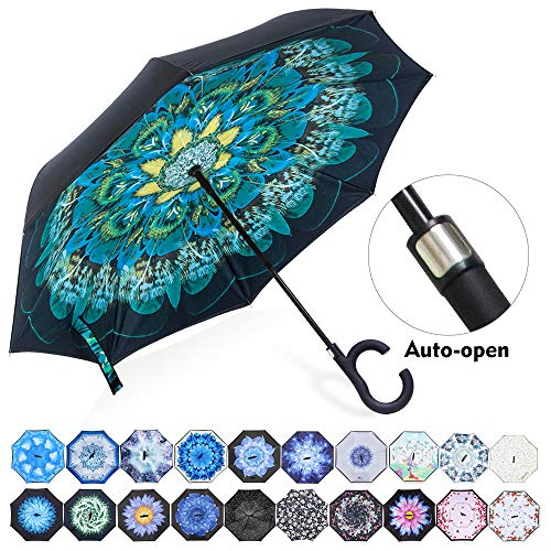 ZOMAKE Auto Open Inverted Umbrella Double Layer Reverse Umbrella, UV Protection Windproof Straight Umbrella Inside Out Umbrella for Car Rain Outdoor with C-Shaped Handle ()