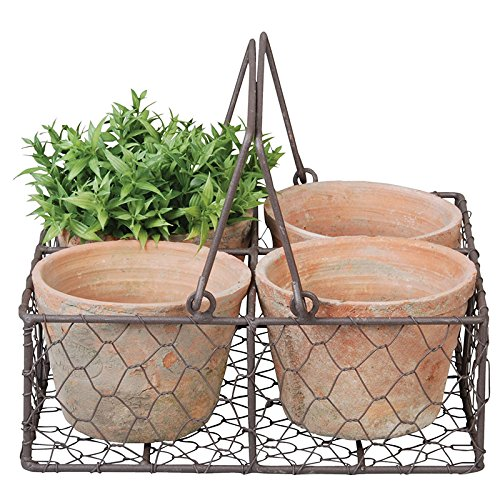 Aged terracotta pots and wire basket.