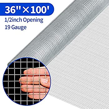 Image of 1/2 Hardware Cloth 36 x 100 19 gauge Galvanized Welded Wire Metal Mesh Roll Vegetables Garden Rabbit Fencing Snake Fence for Chicken Run Critters Gopher Racoons Opossum Rehab Cage Wire Window Home Improvements