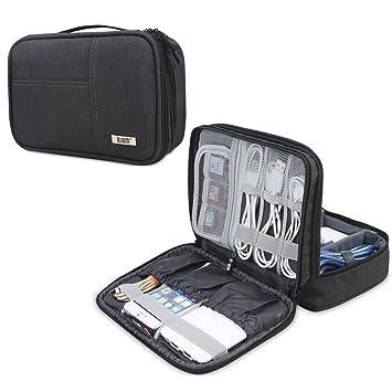 BUBM Organizador para Eléctronica Estuche para iPad Mini Bolsa de Cables Funda de Bantería Extra(pequeño, Negro)
