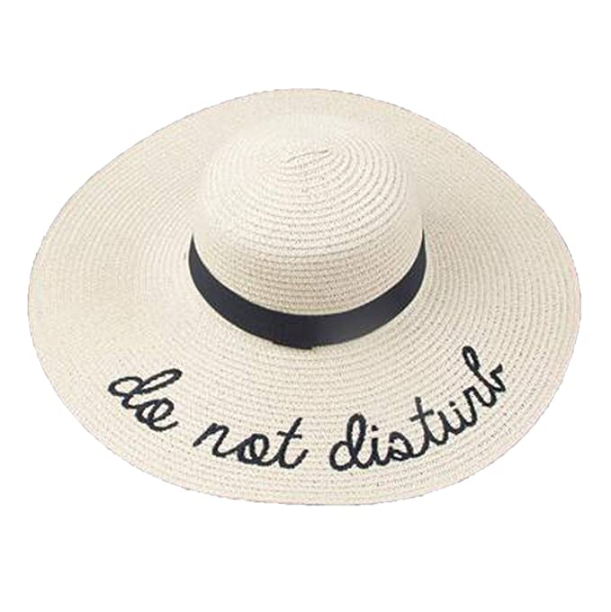 24d18387b8e632 Letter Embroidery Cap Big Brim Ladies Summer Straw Hat Youth Hats for Women  Shade Sun Hats