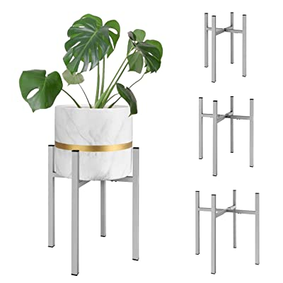 Magicfly Metal Plant Stand with Adjustable Width and Height for 8-14 Inch Planter Pots, Mid-Century Plants & Flowers Holders for Potted Plant, Indoor or Outdoor, (Plant and Pot NOT Included), Grey : Garden & Outdoor