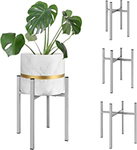 Magicfly Metal Plant Stand with Adjustable Width and Height for 8-14 Inch Planter Pots, Mid-Century Plants & Flowers Holders for Potted Plant,Indoor or Outdoor, (Plant and Pot NOT Included), Grey