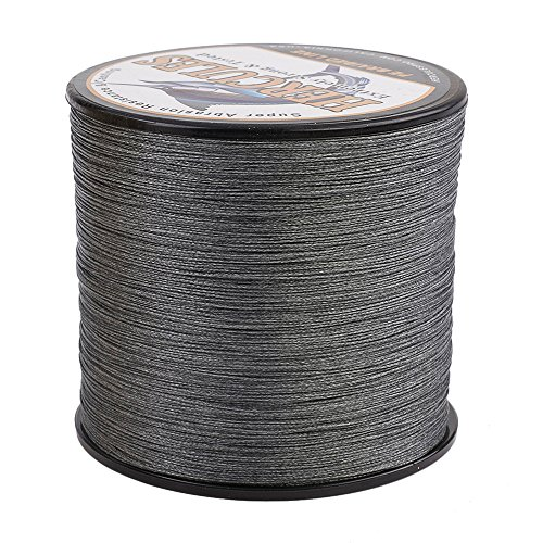 (HERCULES Super Cast 1000M 1094 Yards Braided Fishing Line 40 LB Test for Saltwater Freshwater PE Braid Fish Lines Superline 8 Strands - Grey, 40LB (18.1KG), 0.32MM)
