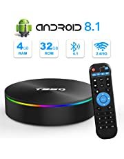 Android TV Box, YAGALA T95Q Android 8.1 TV Box 4GB RAM 32GB ROM Amlogic S905X2 Quad-core Cortex-A53 Bluetooth 4.1 HDMI 2.1 4K Resolution H.265 2.4GHz&5GHz Dual Band WiFi Smart Box