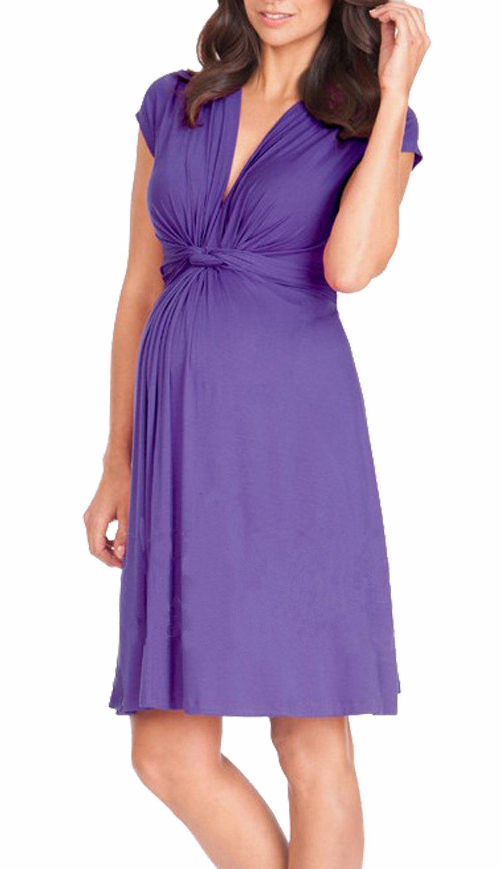 Unilove Women's Maternity Nursing Dress (S, Purple)
