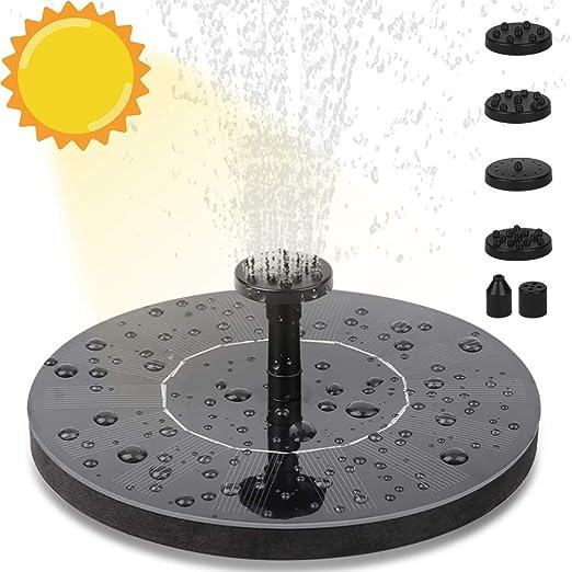Fuente Solar Bomba, Bomba de Agua Solar, Fuentes Solares para Jardin con 6 Boquillas, Bomba Flotante, Fuente Solar con Panel Solar, Solar Kit Bomba de Agua para Piscina, Jardín, Estanque, Pajaros: Amazon.es: