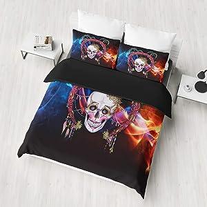 Sugar Skull Duvet Cover Set Twin Dreamcatcher Pattern Boho Exotic Bedding Set Skeleton Floral Print Gothic Skull Soft Microfiber Comforter Cover Set With Zipper Ties Bohemian Retro Tribe Bedding Set
