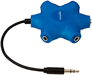 AmazonBasics 5-Way Multi Headphone Splitter, Blue