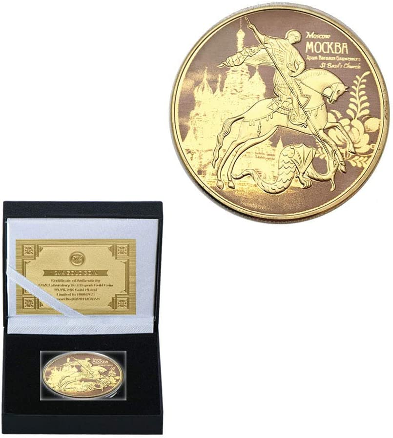 Rusia San Jorge Dragon Monedas de Oro de Cobre Chapado en Oro Impresión en Color Alivio Placa Medallas Moneda Soporte Pesado/dorado/Redondo