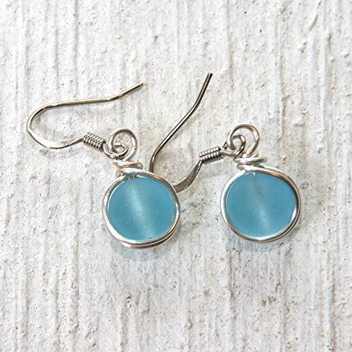 Aqua Blue Sea Glass Bead Drop Earrings - Beach Wear Handmade Wire Wrapped Jewelry
