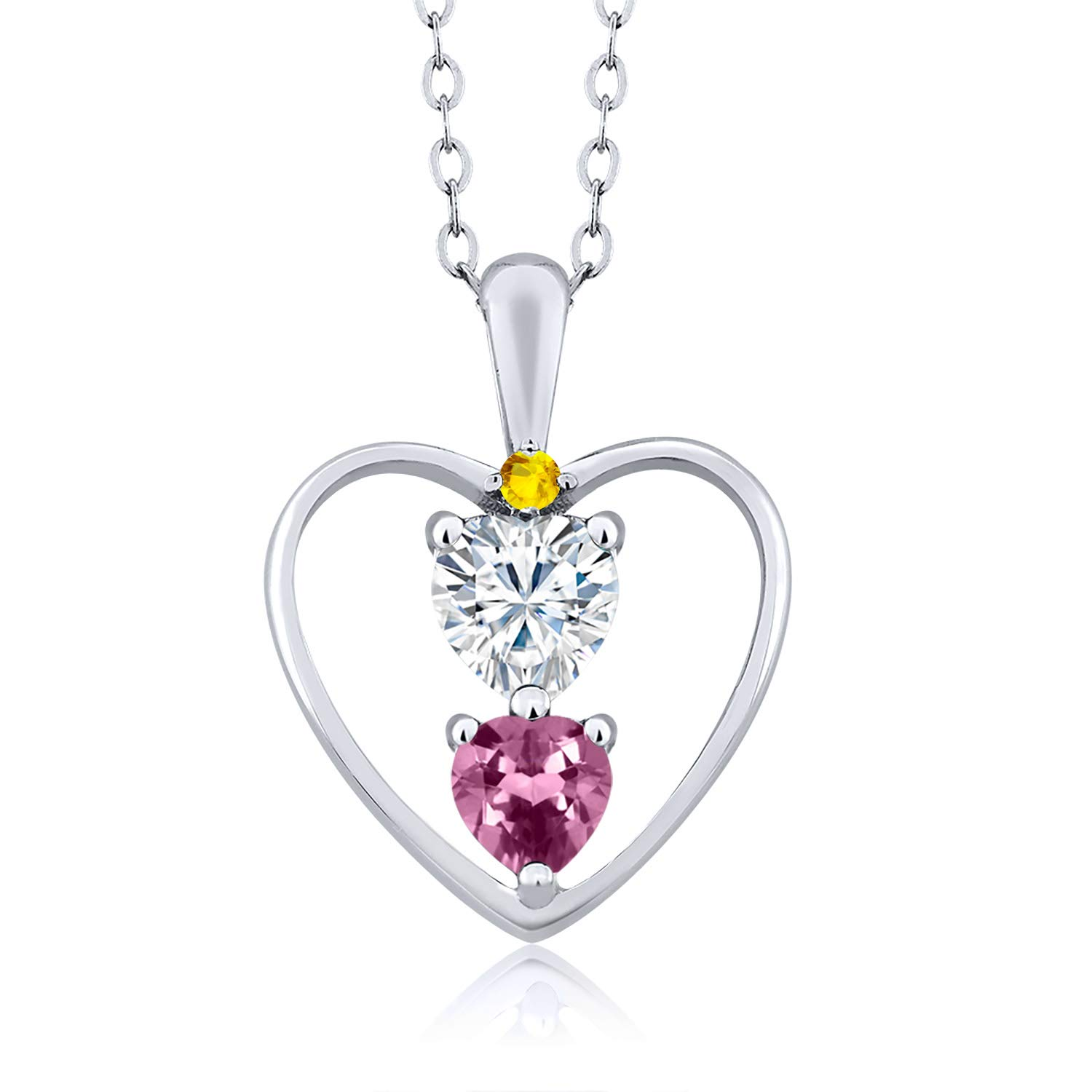 Heart Shape 0.50ct 925 Sterling Silver Pendant Forever Brilliant Created Moissanite by Charles /& Colvard and Tourmaline DEW GHI