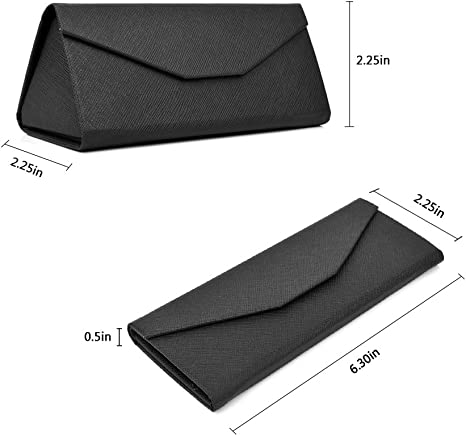 Foldable Holder Well Protected Easy to Carry Matte Leather/&Magnet Closure for Reading,School,Office Mianzu Eyeglasses Case