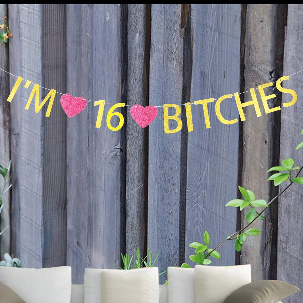 Im 16 Bitches Banner Gold Glitter Letters with Rose Madder Heart Sign for 16th Birthday Party Decorations Gold Banner Pertlife