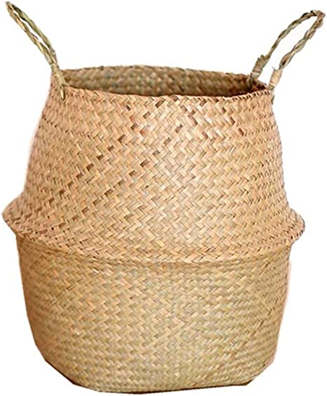 Seagrass Wickerwork Basket Hanging Rattan Flower Pot Laundry Hamper Home Storage