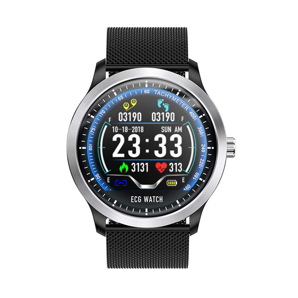 JDgoods N58 Smart Watch,1.22Inch ECG Display Blood Pressure Heart Rate Monitor 3D UI Tracker Smart Watch For Android & IOS (Black)