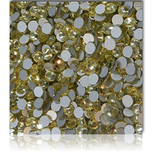 """100% Custom Made (Assorted)1200 Bulk Pieces of Mini Size """"Glue-On"""" Flatback Embellishments for Decorating, Made of Acrylic Resin w/Shiny Iridescent Crafting Rhinestone Crystal Soft Gold Style {Yellow} by mySimple Products"""